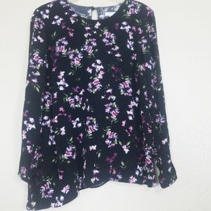 J. Jill Long Sleeve Asymmetrical Floral Blouse S